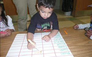 Our Preschoolers learn science and math concepts through hands-on exploration. They often practice charting their results.