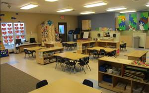 This is our Prekindergarten classroom. The children in this room range in age from 4 to early 5s. The programming of our Prekindergarten room is designed to prepare these kids for their School Age years.