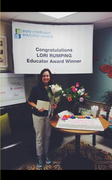 Congratulations to our Prekindergarten Teacher, Lori Rumping, who was awarded our company's Early Childhood Educator of the Year award! It truly is blessing to come go work every day and experience the passion of education that is Ms. Lori. It is an inspiration to witness the influence she has had on so many children throughout the years! Not only does she make the lives of children better, but those of everyone around her. We are so grateful for all she does!