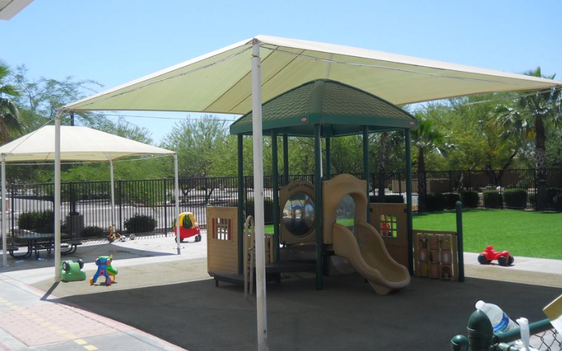 Shaded play scape area