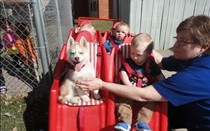 Infants go for a spring ride