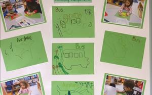 Our preschoolers worked on some fine-motor skills tracing objects during the Transportation Unit.