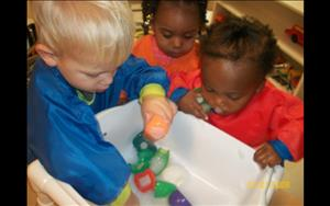 Sensory play is one of our toddler classes favorite things to do!
