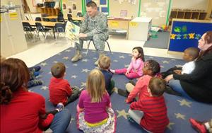 Our guest of honor on military appreciation day reading the Preschool class a story