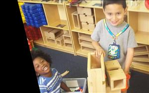 A few of our Preschoolers building their homes in the block area.