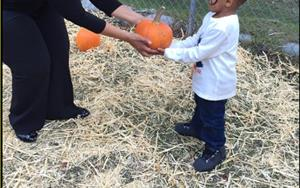 School Director, Ms. Tricia and her son Cameron during the school's pumpkin patch!