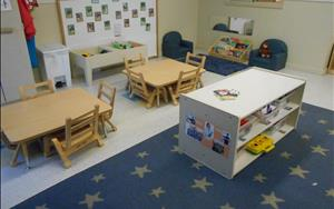 The toddler classroom has a cozy library where the children enjoy reading books in the comfy chairs. The classroom also has a sensory area where the children were participating in planting while they learned about gardening.
