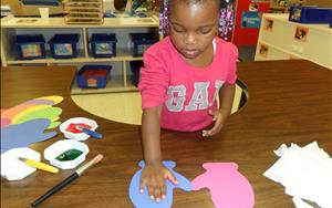 Preschoolers are encouraged to express themselves through creative art.