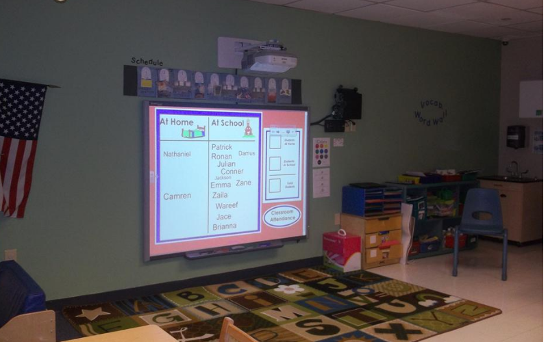 Our interactive kindergarten program, powered by K12 Inc., is designed to encourage children to explore, communicate, and create with confidence.  An interactive whiteboard engages children in collaborative learning with their peers.