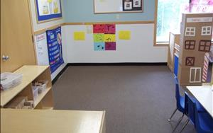 Every morning the Pre-Kindergartens and the teachers will meet on the carpet for morning group time.  During this time the teacher will go over the calendar with the children, read a story that relates to the theme, work on literacy as well as learn their spanish vocabulary.  The carpet area is also used when the children are exploring the learning centers for blocks or music.