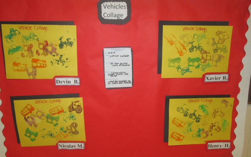 Preschool Activities: Vehicle stamping project at the art learning center.