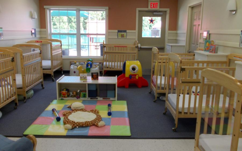 We believe that children learn best by having the opportunity to explore thier environment to it's fullest. This is why our infant classroom is designed to be a least restrictive environment, one without swings or bouncers. This allow children to spend quality time exploring and socializing with their teachers, each other, and the materials around them!