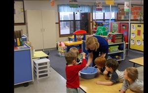Small group activity in our Discovery Preschool classroom