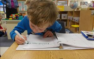 Pre-Kindergarten is learning to write