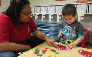 Learning to count in the Preschool classroom.