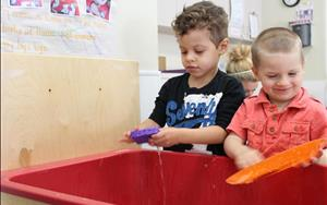 Water play in the Preschool Room