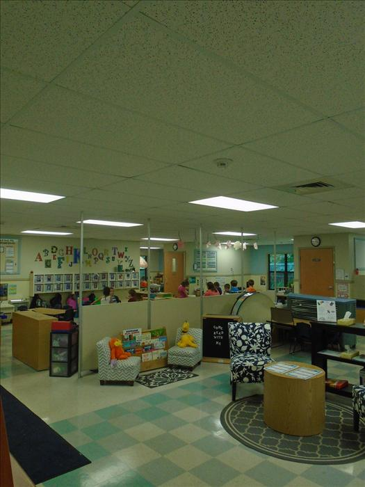Welcome area and Pre-Kindergarten classroom