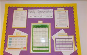 Each classroom has a Family Communication Board for parents' reference.
