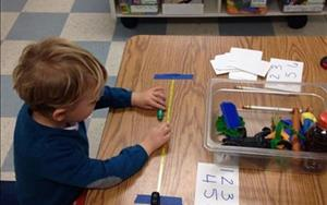 Preschoolers learned to use a tape measure and measured various object in the classroom!