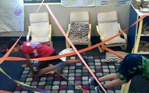 Our School Age friends making an obstacle course for their Summer Program!