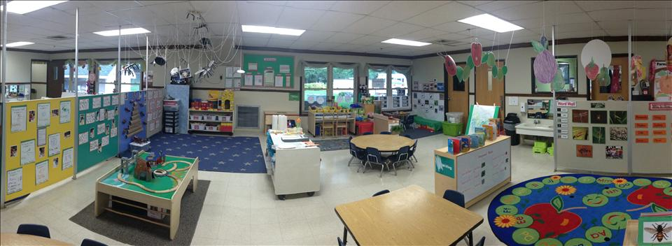 This is our awesome threes preschool room. Miss Tiba does lots of projects with letters and writing. In addtion, we have biweekly themes where children will experience new actvities with math, homeliving, blocks, as well as learn sight words that correspond with the theme.