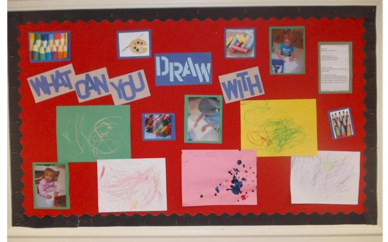 "Discovery Preschool practiced using many different ""Tools"" to create art during our In My Imagination theme."