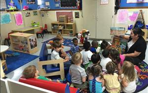 Preschool class was enjoying reading time with  Ms. Justina, our Assistant Director.