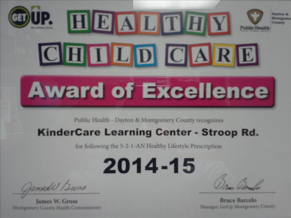 Healthy Child Care Award of Excellence