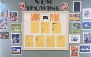 A display of our school-agers' fun gaming poems.