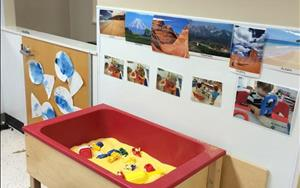 Discovery Preschool Toddler's science area provides lots of experience with sensory play. Every unit has new sensory exploration.