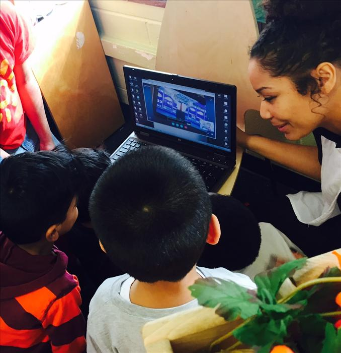 Ms. Sam and her Pre-K children take a virtual tour of the WGN weather studio.