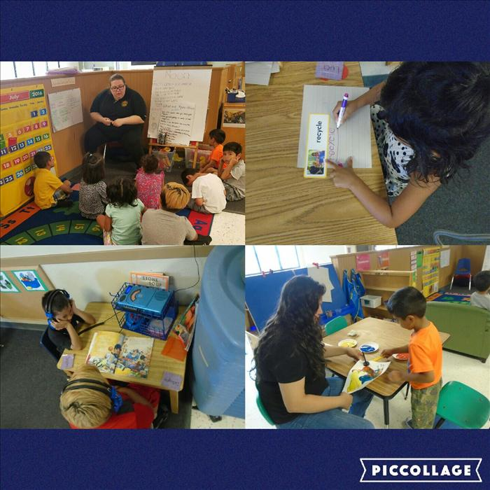 In our PreKindergarten classroom you can see Language and Literacy development, Creative expression, and Cognitive Development being developed in these pictures. Ms. Bianca is encouraging the child to use art as a form of expression. Mr. Kera is having the children reflect on and respond to open-ended questions.