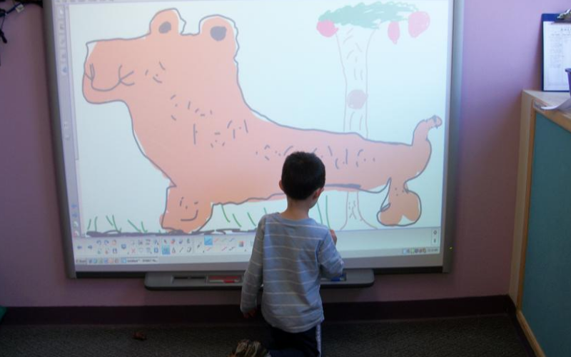 Our Private Kindergarten classroom is equipped with a Smart Board.