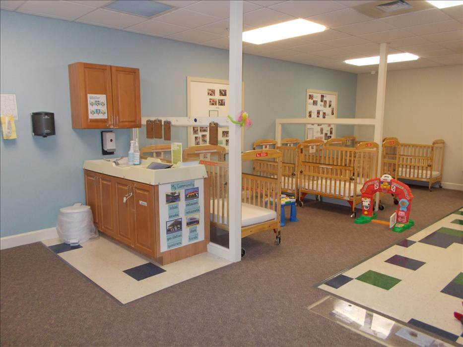 Each infant has their own assigned crib and has a warm, inviting environment to learn and make new firends.
