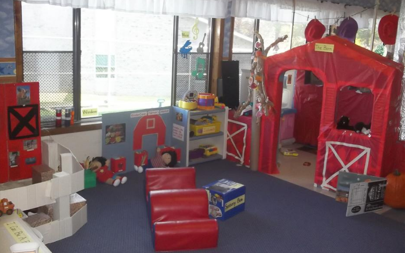 Our interactive Toddler room was transformed into an educational barnyard during the Farm theme.