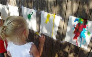 One of the children's favorite activities is Splash Paint. What a great way to enjoy the fresh outdoors and paint the scenery around you.