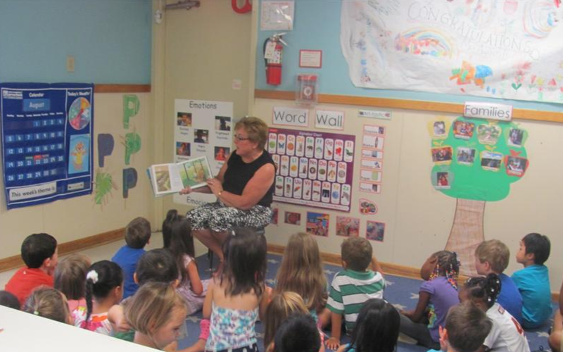 Senator Nancy King reads to our Prekindergarten classroom.
