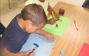 The children in the Prekindergarten classroom traced and painted their own hands for their All About Me theme.