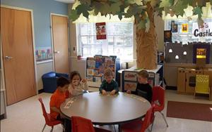 This tree in our pre-school room   changes with every season. The children really enjoy it!