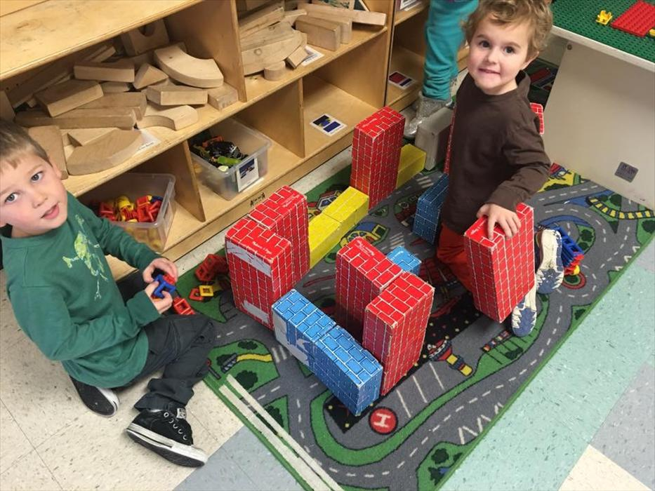 The four-year-olds love working together to build things!