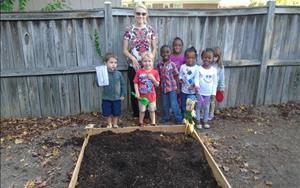 Pre-Kindergarten planting their fall garden