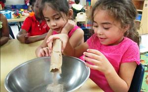 Fun times doing a cooking activity in the prekindergarten class.
