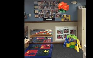 We focus on specific areas of development! Stop by to see what the babies are learning this month.