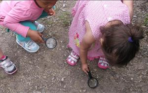 Our Discovery Preschool friends love having the opportunity to observe, explore, and experiment with magnifying glasses outdoors!