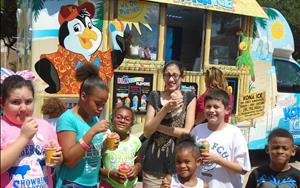 School-agers enjoying Kona Ice this summer.
