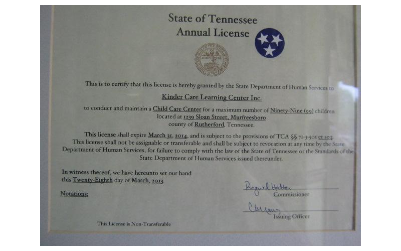 State of Tennessee Annual License