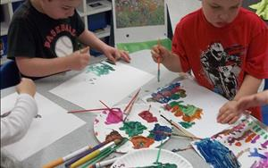 We encourage your child to use art and music as forms of expression.  Children share thoughts, feelings, and ideas through drawing, creative movement, and storytelling.