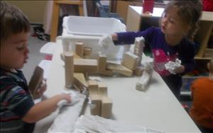 Playing with shaving cream and blocks! Fun times!