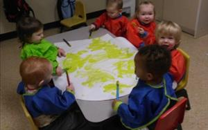 Our toddlers made a sun while learning about light and dark.