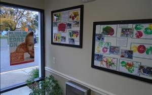 What better way to enhance our entry way than with our students' process art?